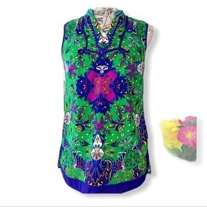 🌞Nicole Miller green floral sleeveless blouse